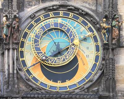 Astrological Clock showing Signs of the Zodiac and positions of Sun and Moon