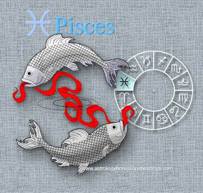 A representation of the astrological sign Pises, the two fish tied together by what they have consumed. . Image copyright 2014 Roman Oleh Yaworsky, www.astrologyhoroscopereadings.com