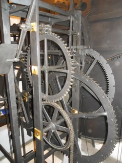 The inner clock mechanism of the astrological clock in Prague, Czech Republic