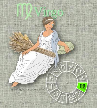 the depiciton of the Sun Sign Virgo, the Virgin. Image copyright 2014 Roman Oleh Yaworsky, www.astrologyhoroscopereadings.com